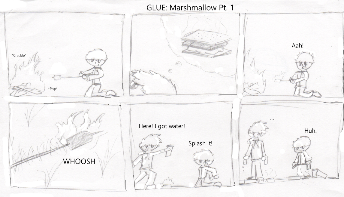 A Comic about a funny moment of dropping a flaming marshmallow into the grass while camping.